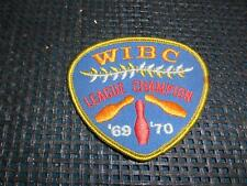 Old Vtg Embroidered Womens BOWLING PATCH WIBC League Champion 1969-1970 Badge