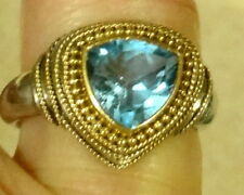 22 K Gold & .925 Sterling Silver Stacked Trillion-Cut Blue Topaz  Ring Size 7