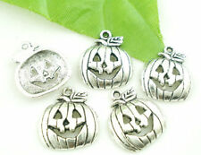 8 pcs PUMPKIN Jack-O-Lantern Tibet silver Charms Pendants DIY Jewellery Making