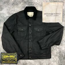 DENIM & SUPPLY Ralph Lauren Black Duck Canvas Corduroy Denim Trucker Moto Jacket