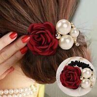 Women Big Rose Flower Pearl Rhinestone Hair Bands Girls Elastic Hair Rope Ring