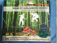 ULTRASPORT SLACKLINE 15m with Ratchet Cover, Tree Protection & Aux Rope