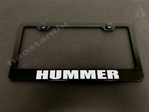 1x HUMMER BLACK Stainless Metal License Plate Frame + Screw Caps