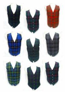 New Men's Custom Made Scottish Tartan Waistcoat -Available in 40 Tartans