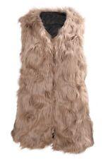Veste Manteau Veste Gilet en fausse fourrure retro a la mode mi-longue pour Q6M1