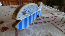 casalinghi pesciolino vintage in legno blu