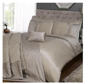 Charlotte Luxury Taupe Crinkle Faux Silk Panel Duvet Cover Set - Single