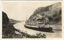 1930s Passenger Liner Resolute in the Panama Canal Real Photo Postcard