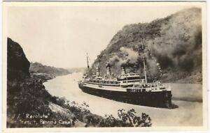 Passenger Liner Resolute in the Panama Canal Vintage Ship Real Photo Postcard