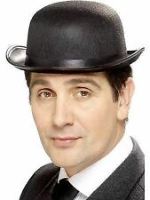Black Felt Bowler Hat British Victorian 1920s Fancy Dress Costume Prop P2318