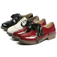 New Women Patent Leather Oxfords Shoes Two Shoelaces Lace Up Flat Brogues Shoes