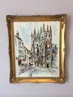 Original gilt framed impressionist oil on canvas street scene signed Mak