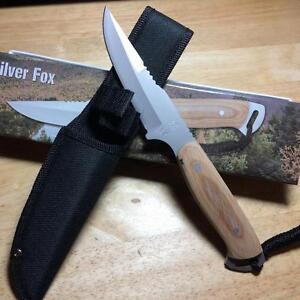 """Frost Cutlery Silver Fox Desert Wood 9"""" Hunting Knife w/Sheath FSF18300DW"""