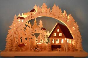 Schwibbogen 3D mit geschitzten Figuren Feierabendstimmung 43 x 30 cm Erzgebirge