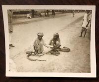 Rare 1945 World War II Vintage Photo India Snake Charmers 2 x 2.5