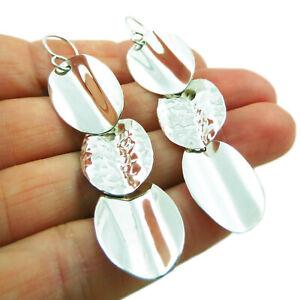 Long 925 Sterling Silver Triple Circle Earrings