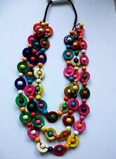 Tolle Halskette Kette Lagenlook Kokos Holz bunt lang Hippie Boho auffällig Neu
