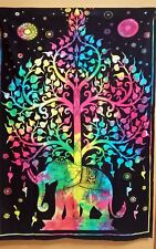 """1x Multi Color Home Decor (Tie Dye) Elephant Tree of Life Tapestry 54""""x 78"""" New"""
