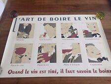 Original Vintage Poster L'Art de Boire le Vin d'apres Martin c1980 French Wine