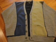 EUC VTG J CREW WOOL BLUE GREEN GRAY MENS cardigan sweater LARGE