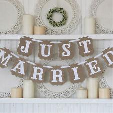 Just Married Kraft Cardboard Bunting Banner Garland wedding decoration