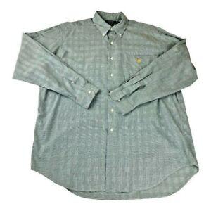 LRL Ralph Lauren Mens Oxford Shirt Gray Green Glen Plaid Pocket Cotton Vintage L