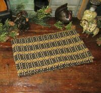 Prim Antique Vtg Style Acorn Weave Black Tan Cotton Woven COVERLET RUNNER RQ9WSR