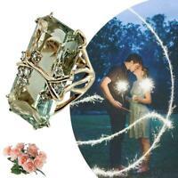 Vintage Sliver Smaragd Peridot Gold Überzogener Ring Frauen Männer Hochzeit E4S2