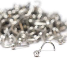 Nose Ring Wholesale Lot 100pcs Surgical Steel Stud Screw Clear Cz Gem 18G