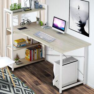 4 Tier Storage Rack Computer Desk Table Home Office Study Workstation Bookshelf