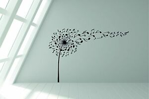 Dandelion Musical Music Notes Blowing in the Wind, Wall Sticker Decal Art.