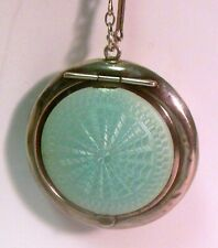 Vtg English STERLING Silver BLUE GUILLOCHE COMPACT  Sterling Chain Necklace
