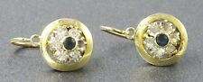 18ct Yellow Gold Blue & White Sapphire Earrings Shepherd Hooks Pierced Ears