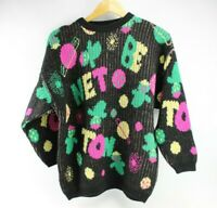 Vintage Black And Multi-color Space Benetton Logo Sweater 1980's Wool Blend