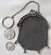 Antique Victorian German Silver Chatelaine French Doll Patina Mesh Coin Purse