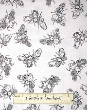 Loralie Bee Fabric - Bee Happy Bumble Bees White Loralie Harris #862-B - Yard
