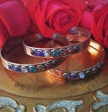 Copper Seven Chakra 7 Gemstone Adjustable Magnetic Cuff Bangle Bracelet Jewelry