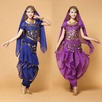 AU Belly Dancing Costume Set Indian Dance Carnival Outfits Top+Belt+Veil+Pants