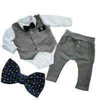 Baby Boys Elegant 4 Pcs SET Waistcoat Trousers Shirt Bow Christening Birthday