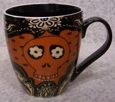 Coffee Mug Day of the Dead Orange Skull  NEW 20 ounce cup with gift box