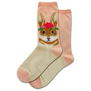 Flower Crown Bunny Hot Sox Women's Crew Socks Blush New Novelty Rabbit Fashion