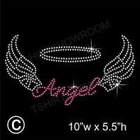 Angel with Wings Rhinestone/Diamante Transfer Hotfix Iron on Motif + free gift