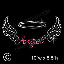 Angel with Wings Rhinestone/Diamante Transfer Hotfix Iron on Motif + free gift
