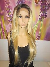 Ombre Dark Roots To 27 and 613 Blonde Lace Front Wig Heat Resistant Wig