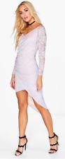 Boohoo Elody Contrast Lace Wrap Drape Midi Dress Size 12 LS170 ii 34