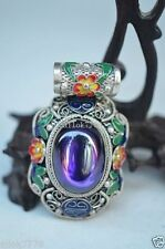 Collection Decorated Chinese Silver Copper Zircon Handmade Pendant b01