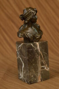 Hand Made Bronze Metal Bust Elegant Victorian Female Lady Classic Estate Girl