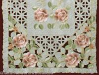 Embroidered Rose Daisy Floral Cutwork Pastel Easter Ivory Placemat, Table Runner