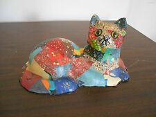 VINTAGE  CAT MADE FROM PLASTER PARIS WITH GLASS EYES- COVERED WITH  MATERIAL