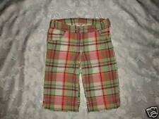 Girls GYMBOREE CORAL REEF Plaid Capris Sz 4 Adj. Waist